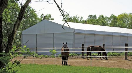 Temporary riding arena used